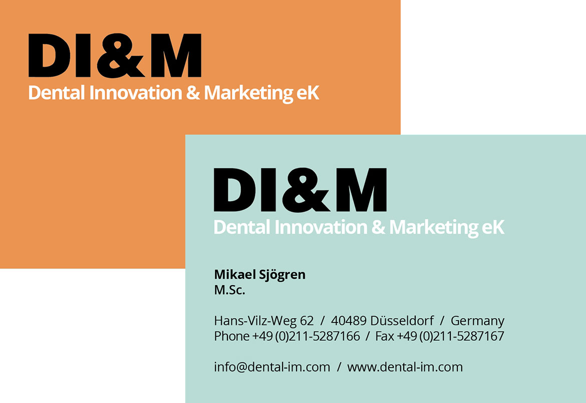 Visitenkarten der Firma Dental Innovation Marketing