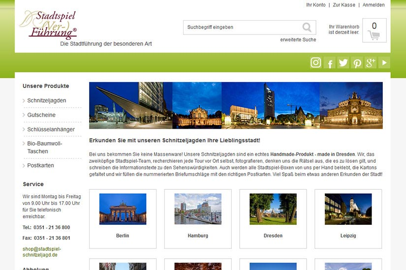 Stadtspiel - OnlineShop,xt:commerce,relaunch,Responsive